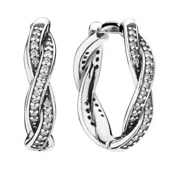 Braided Silver hoops with Cubic Zirconia