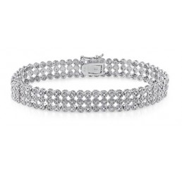 DELMAR JEWELRY 1 CT Diamond Tennis Bracelet in Sterling Silver