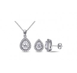 Delmar Jewelry2 Pc Set Of 3-1/5ct TGW Pear Shape & Round Created White Sapphire Earrings & Pendant w/ chain